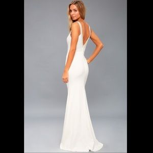 NWOT Lulus Celena white beaded maxi